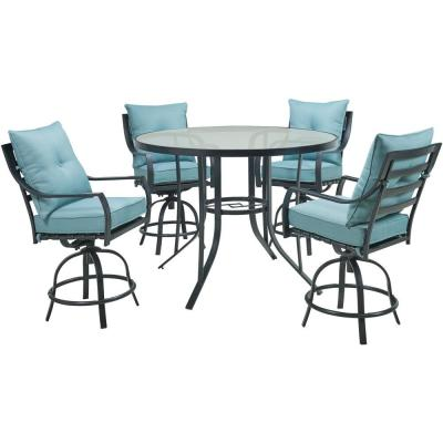 Lavallette 5-Piece Steel Round Outdoor Dining Set with Ocean Blue Cushions, 4 Swivel Chairs and a 52 in. Glass-Top Table