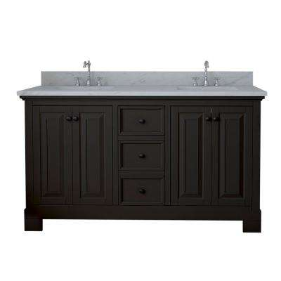 Richmond 60 in. W x 22 in. D Double Vanity in Espresso with Marble Vanity Top in White with White Basin