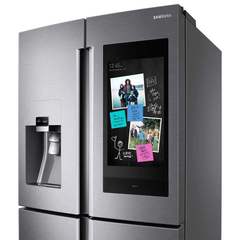 Samsung 22 cu  ft  Family Hub 4-Door French Door Smart Refrigerator in  Stainless Steel with AKG Speaker, Counter Depth