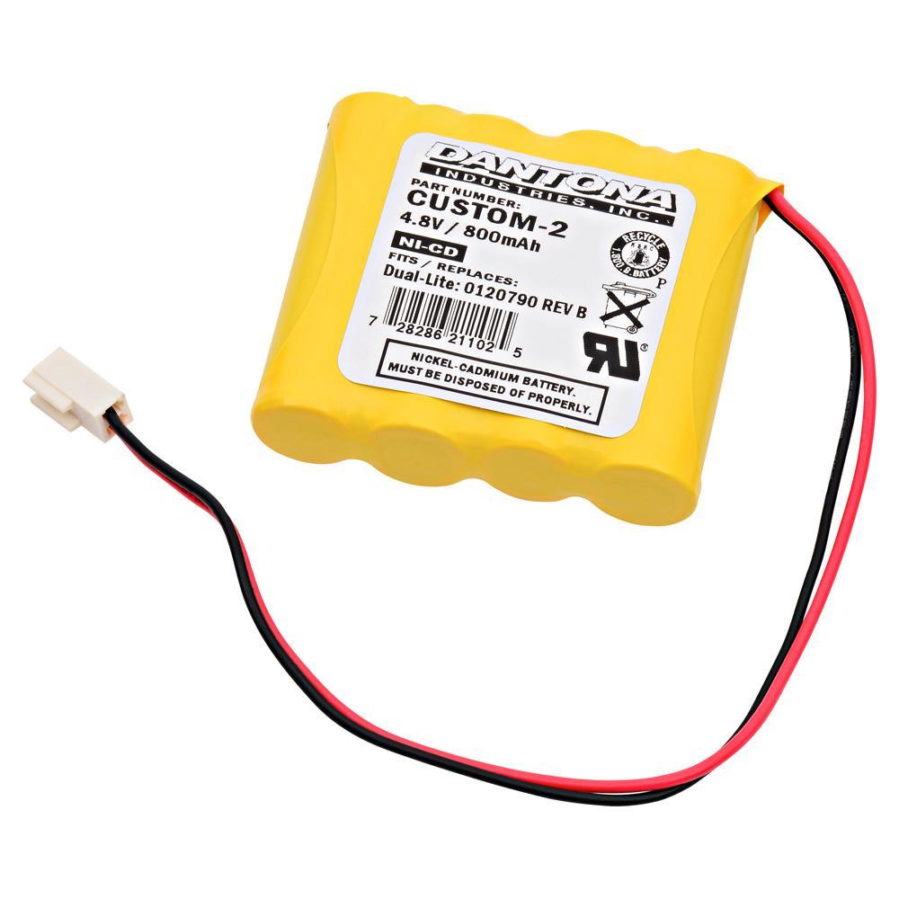 Dantona 4.8-Volt 800 mAh Ni-Cd battery for Dual-Lite - 0120790 RE-Volt B Emergency Lighting