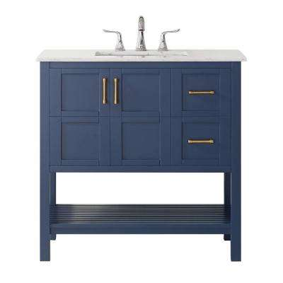 """Florence 36"""" Vanity in RoyalBlue with Carrara White Marble Countertop Without Mirror"""