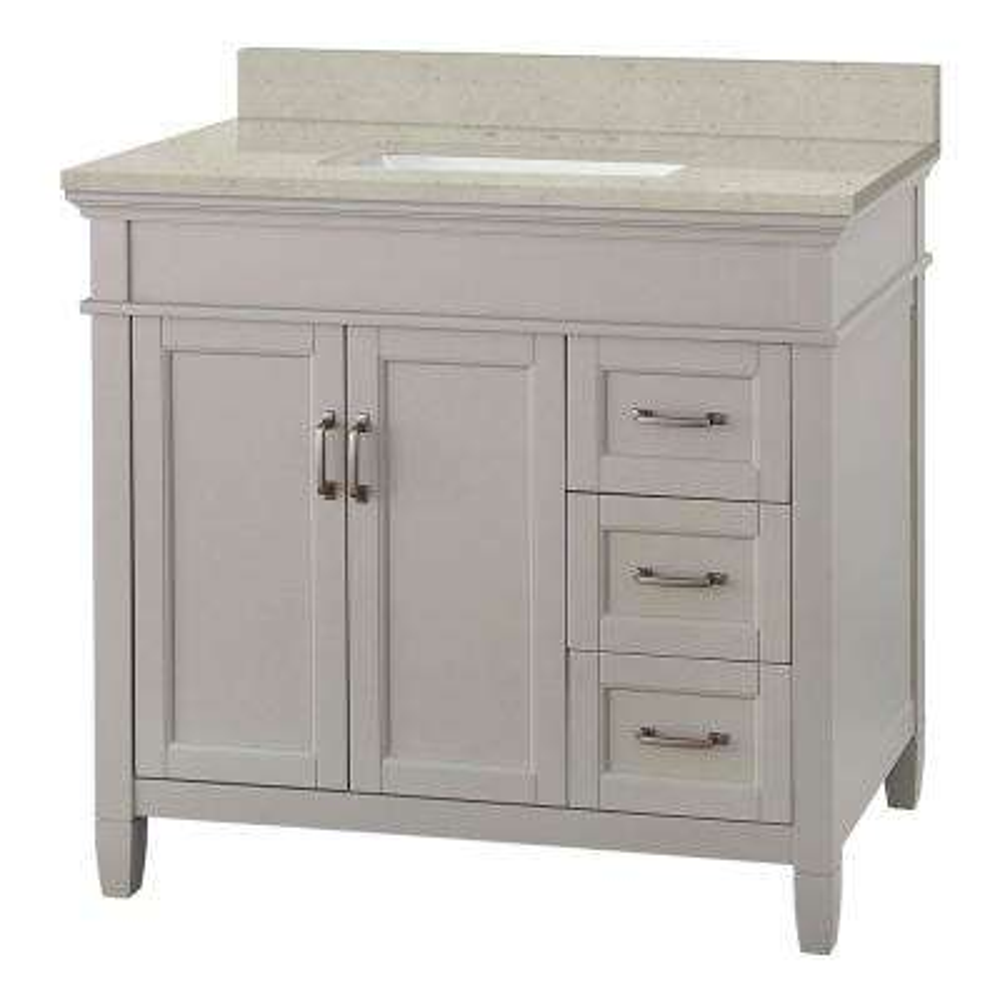Ashburn 37 in. W x 22 in. D Vanity Cabinet in Grey with Engineered Quartz Vanity Top in Stoneybrook with White Sink