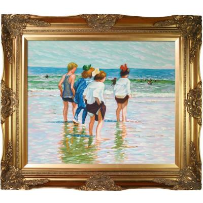 """32 in. x 28 in. """"Summer Day, Brighton Beach with Victorian Gold Frame """" by Edward Henry Potthast Framed Wall Art"""