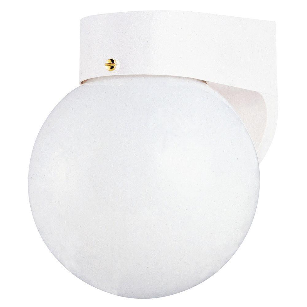 Westinghouse 1-Light White on Hi-Impact Polycarbonate Exterior Wall Lantern with White Glass Globe