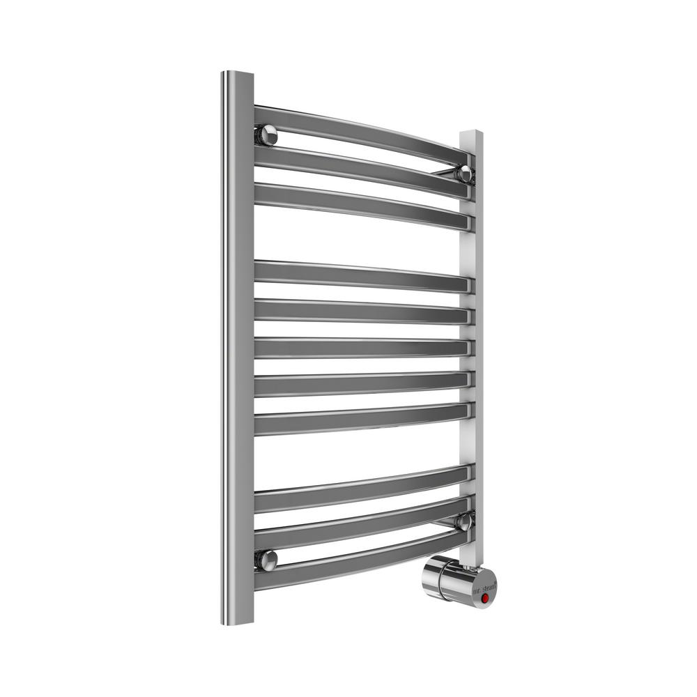 11-Bar Wall Mounted Electric Towel Warmer with Digital Timer in Polished