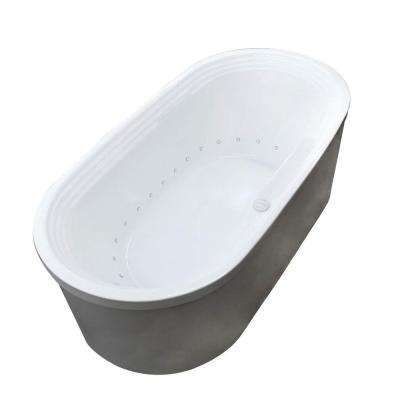 Pearl 5.6 ft. Acrylic Center Drain Flatbottom Whirlpool and Air Bath Tub in White