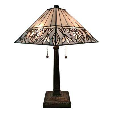 22 in. Multicolored Tiffany Style White Floral Mission Table Lamp