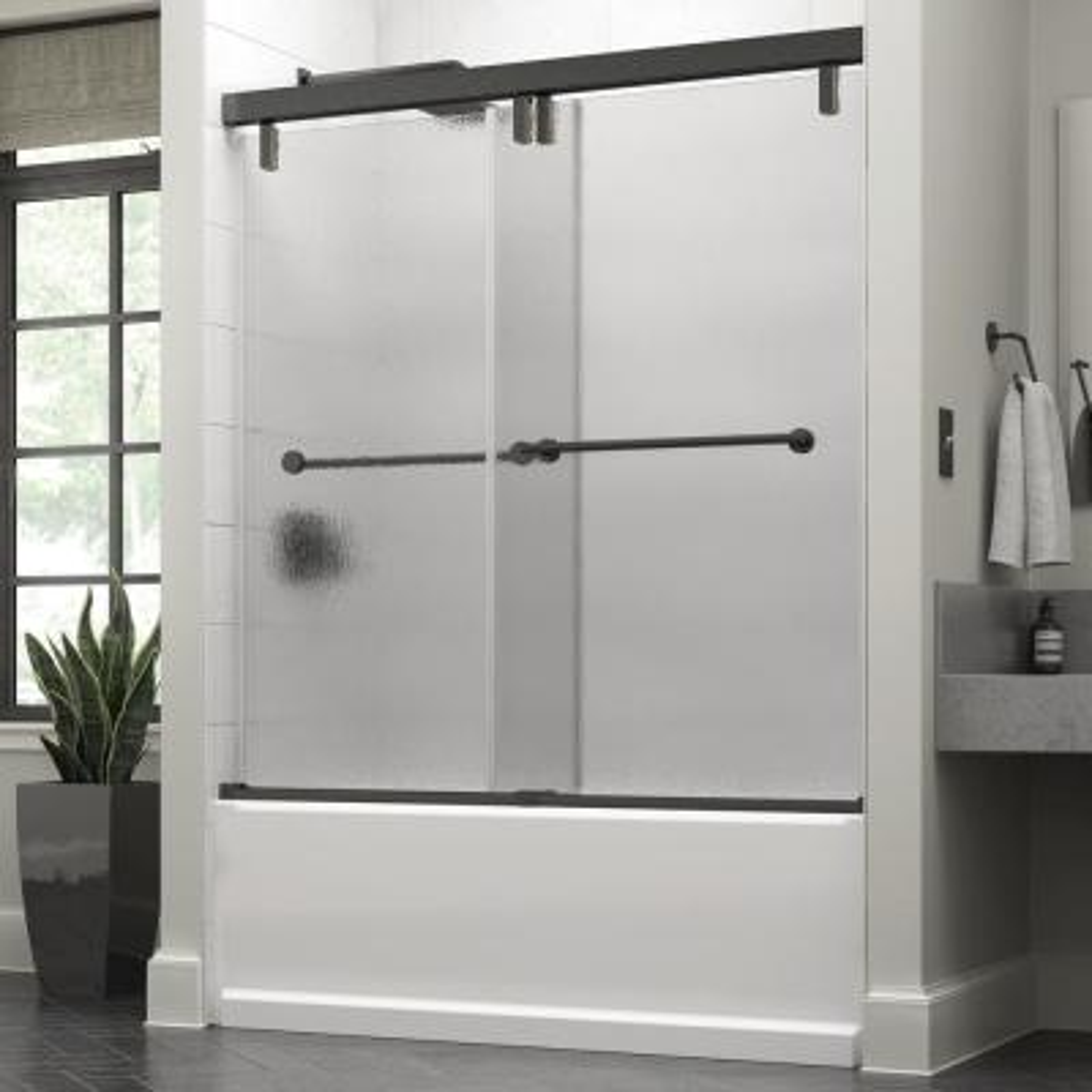 Everly 60 in. x 59-1/4 in. Mod Semi-Frameless Sliding Bathtub Door in Bronze and 3/8 in. (10mm) Rain Glass