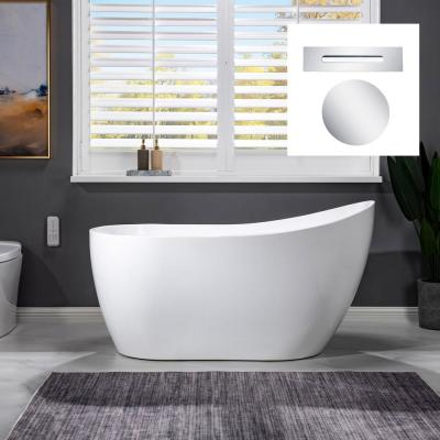 Milo 54 in. Acrylic FlatBottom Single Slipper Soaking Bathtub with Polished Chrome Drain and Overflow Included in White