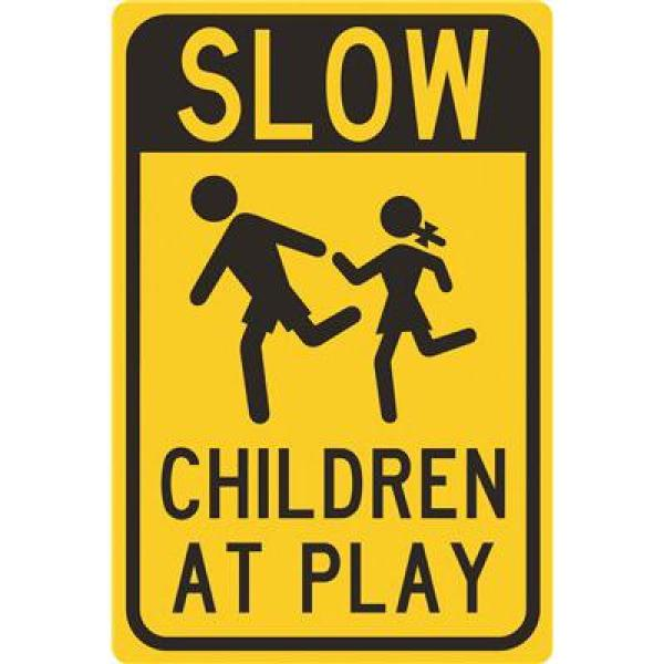 12 in. x 18 in. Aluminum Slow Children at Play Street Sign