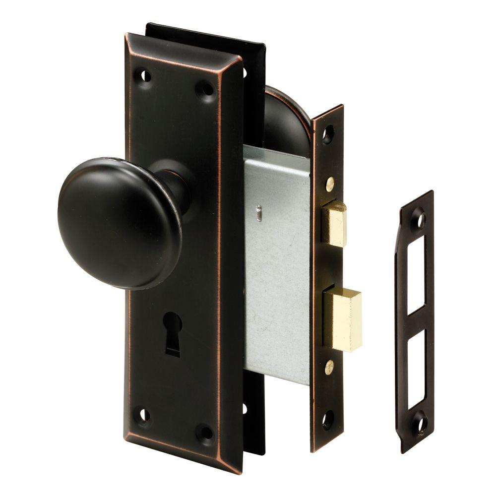 Prime Line Oil Rubbed Bronze Mortise Lock Set With Keyed
