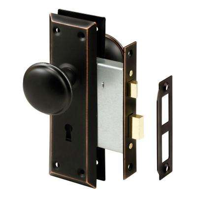 Oil Rubbed Bronze Mortise Lock Set with Keyed Knob - Antique - Entry Door Knobs - Door Knobs - The Home Depot