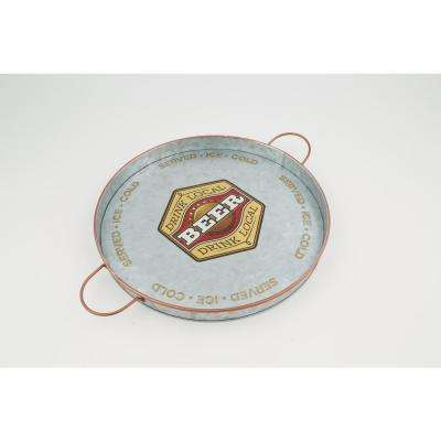 Small Round Galvanized Iron Serving Tray with Handles