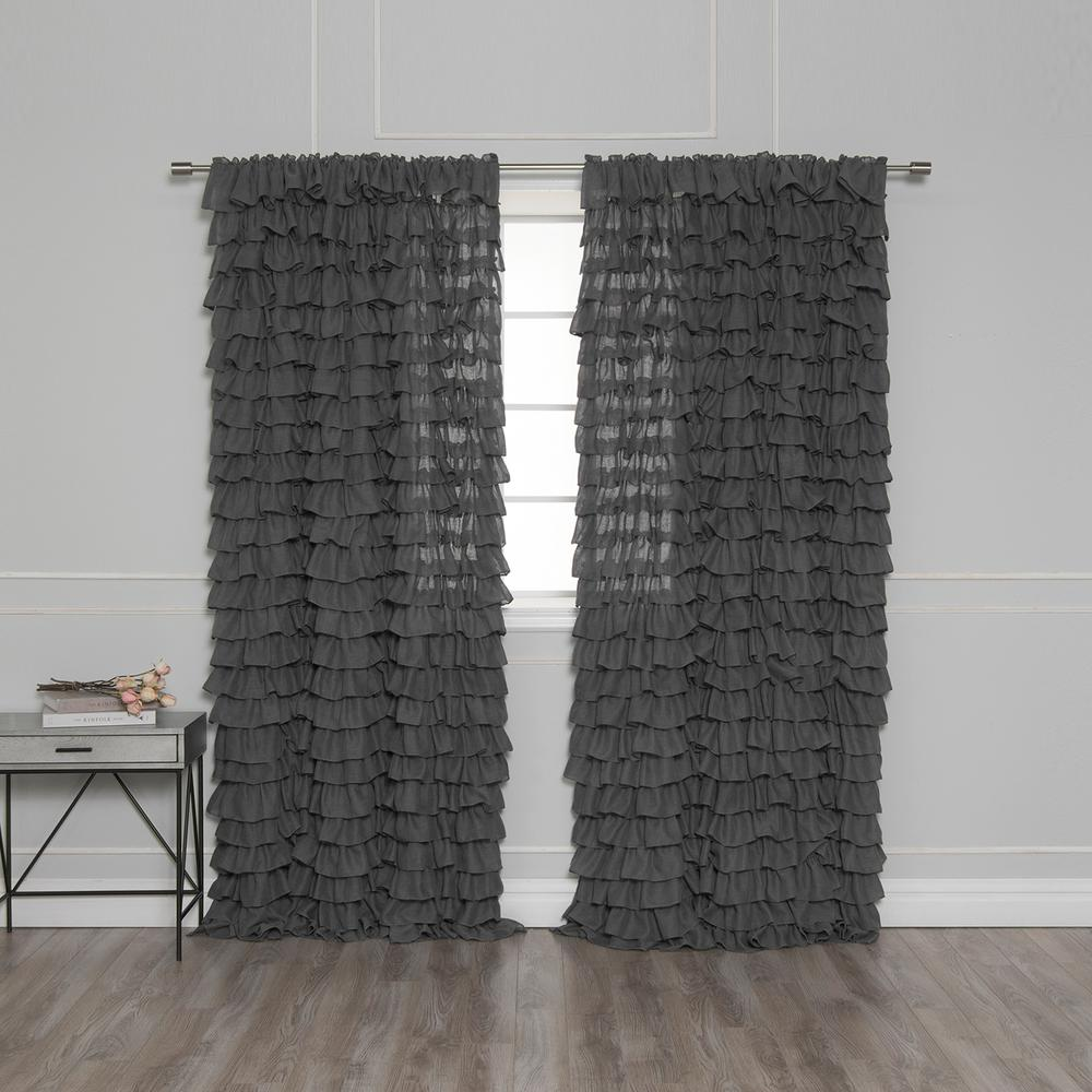 Best Home Fashion 84 In. L Ruffle Cascade Curtains In Dark
