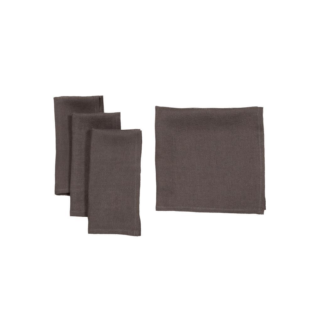 Manor Luxe 0.1 in. H x 20 in. W x 20 in. D Classic Linen Napkins Dark Gray (Set of 4)