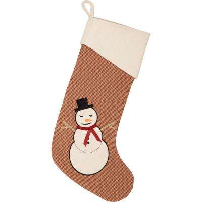 20 in. Let It Snow Apple Red Farmhouse Christmas Decor Stocking