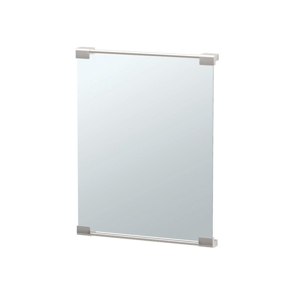 Gatco Fixed Mount Decor Mirror 20 in. x 25 in. Framed Single Wall Mounted in Satin Nickel