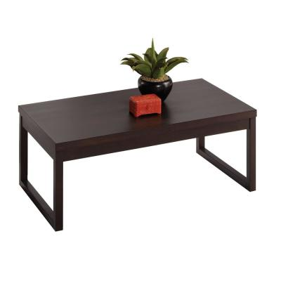Athena 44 in. Dark Chocolate Large Rectangle Wood Coffee Table