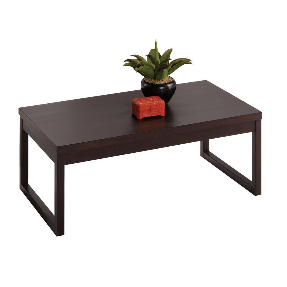 Athena 44 in. Dark Chocolate Large Rectangle Wood Coffee Table