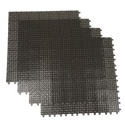 Brown Regenerated 22 in. x 22 in. Polypropylene Interlocking Floor Mat System (Set of 4 Tiles)