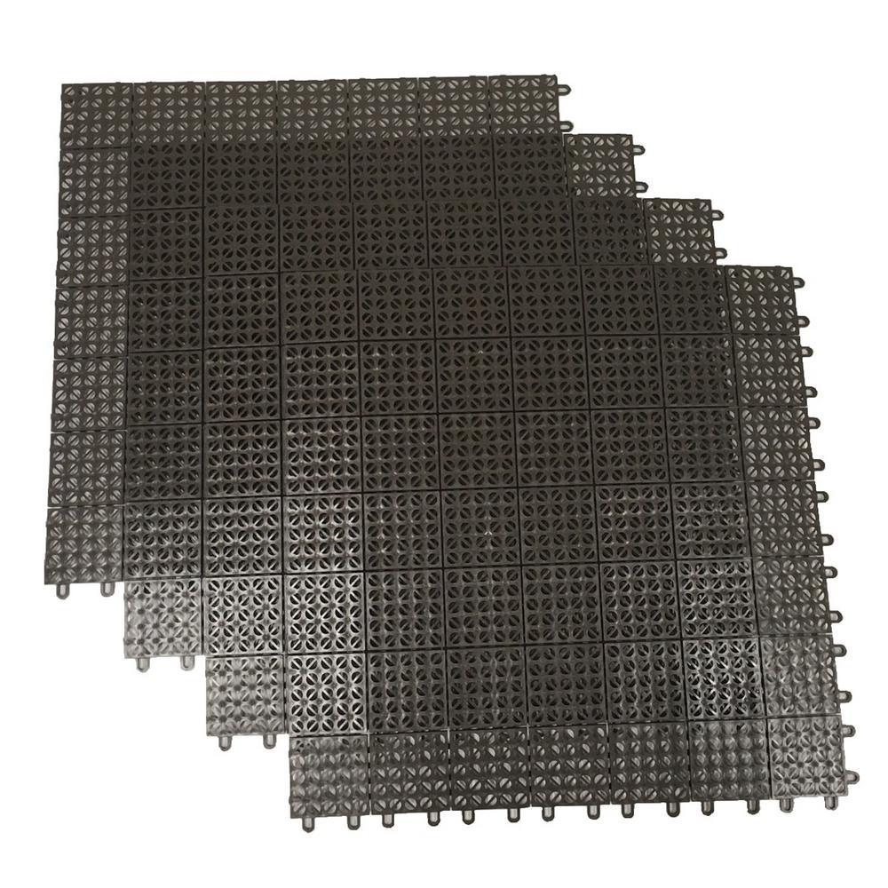 Brown Regenerated 22 in. x 22 in. Polypropylene Interlocking Floor Mat System (Set of 4 Tiles)