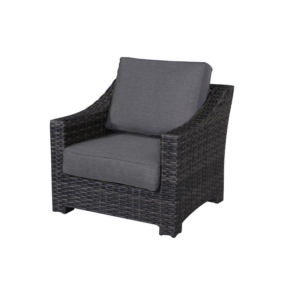Bora Bora Wicker Outdoor Lounge Chair with Olefin Charcoal Grey Cushions