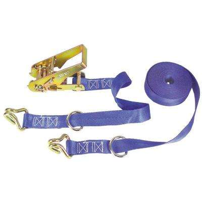 1 in. x 15 ft. x 666 lbs. Ratchet Tie Down with Double J- Hook