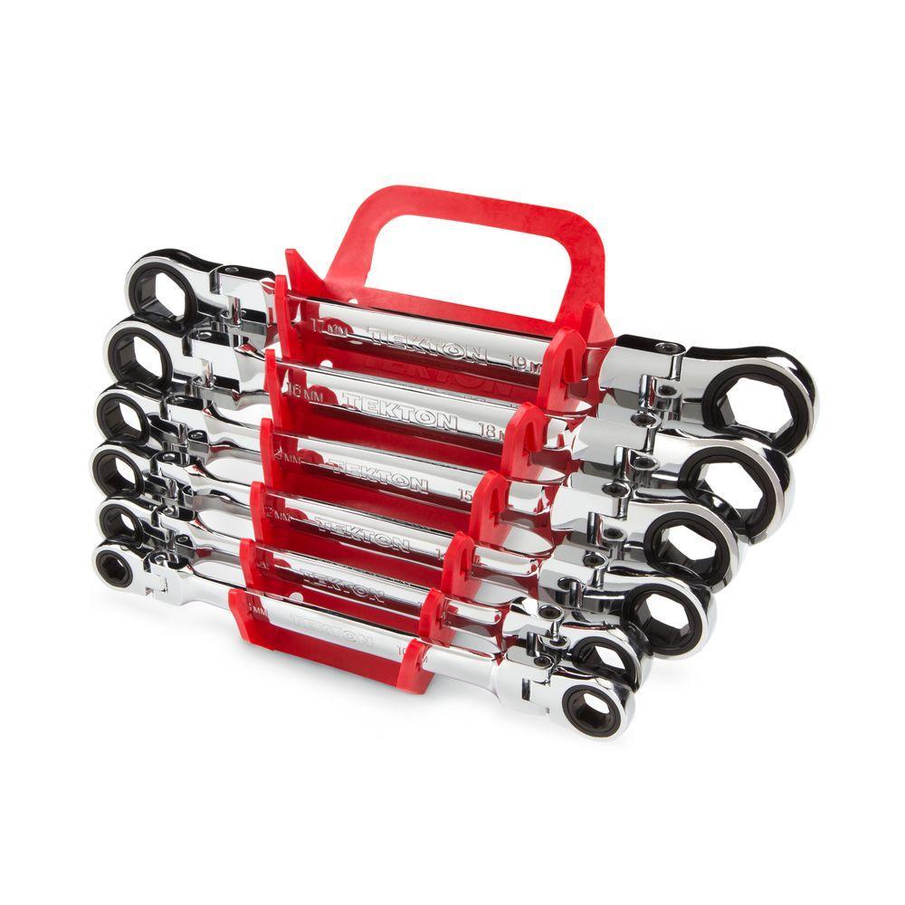 TEKTON 8-19 mm Flex-Head Ratcheting Box End Wrench Set (6-Piece) by TEKTON