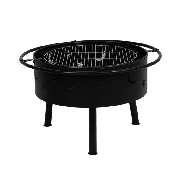 9 inRound Porto  Star and Moon Outdoor Steel Wood Burning Fire Pit