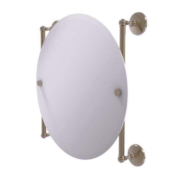 Monte Carlo Collection 22 in. x 22 in. Round Frameless Rail Mounted Mirror in Antique Pewter