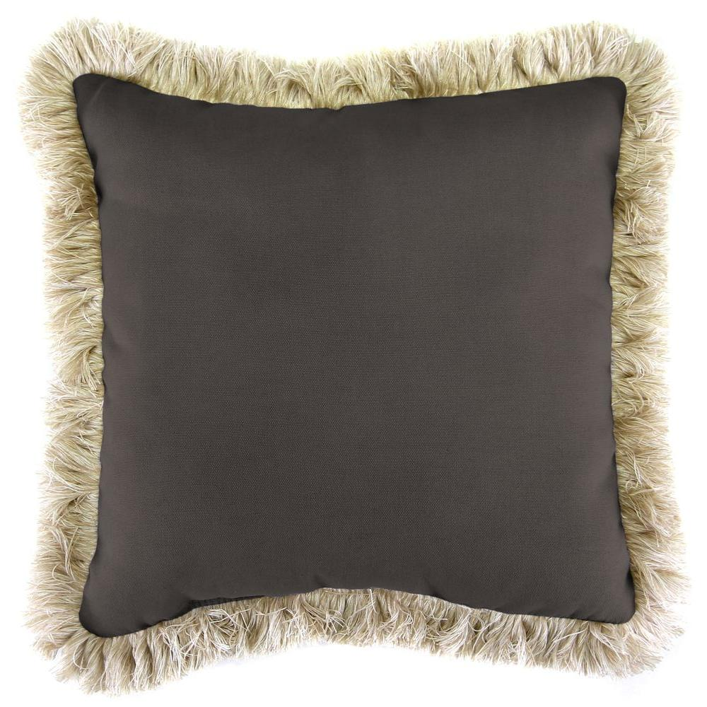 Jordan Manufacturing Sunbrella Canvas Coal Square Outdoor Throw Pillow with Canvas Fringe