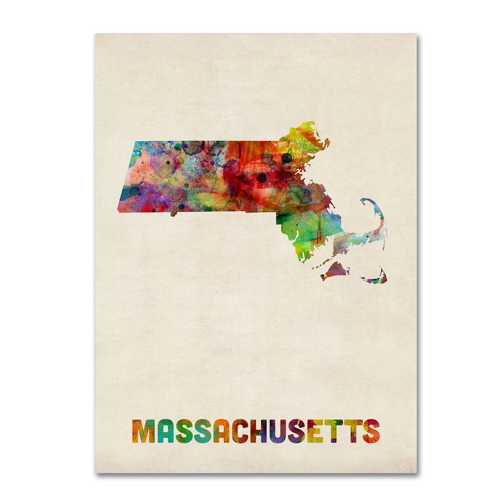 14 in. x 19 in. Massachusetts Map Canvas Art