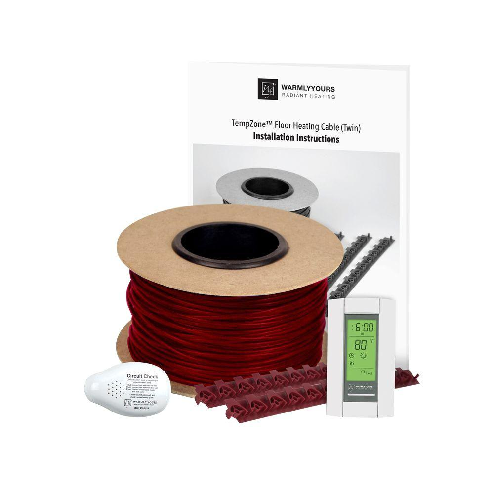 WarmlyYours TempZone 48 sq. ft. 180 ft. Cable Kit with Strips