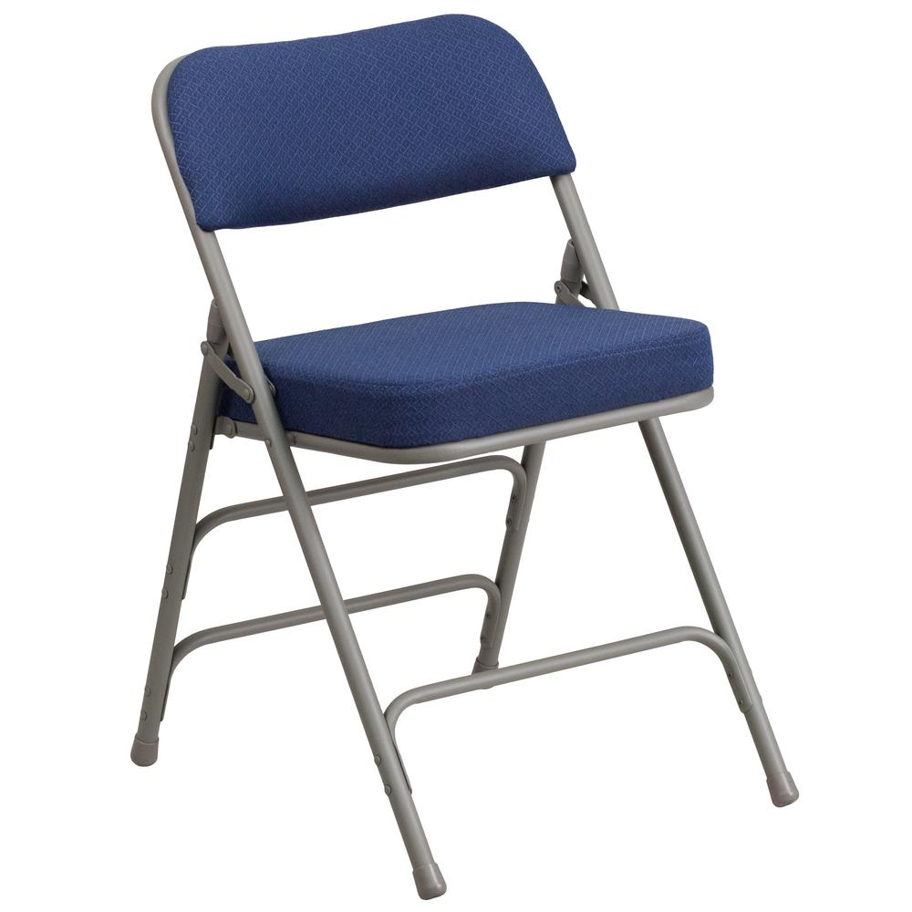 Flash Furniture Hercules Series Premium Curved Triple Braced & Double Hinged Navy Fabric Upholstered Metal Folding Chair, Gray/Blue 29.5 in Color: Gray/ Navy.