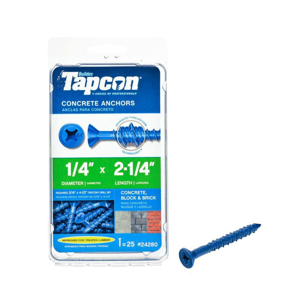 Tapcon 1/4 in. x 2-1/4 in. Phillips-Flat-Head Concrete Anchors (25-Pack)