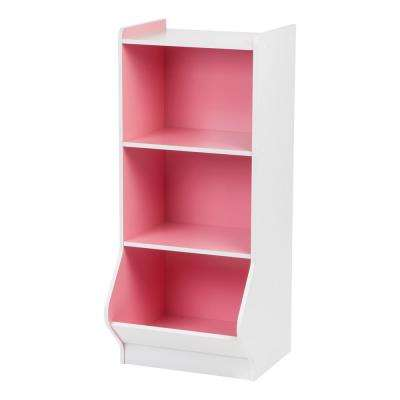 White and Pink 3-Tier Storage Organizer Shelf with Footboard