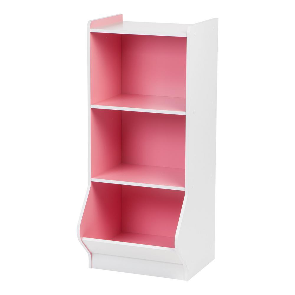White and Pink 3-Tier Storage Organizer Shelf with Footboard