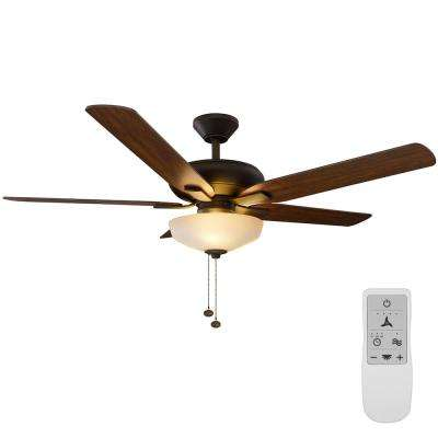 Holly Springs 52 in. Oil-Rubbed Bronze LED Ceiling Fan with Light Kit Works with Google Assistant and Alexa