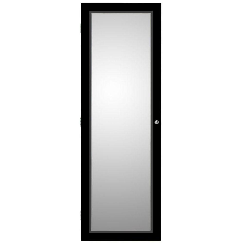 Oxford Wall Mount Jewelry Armoire With Mirror In Black