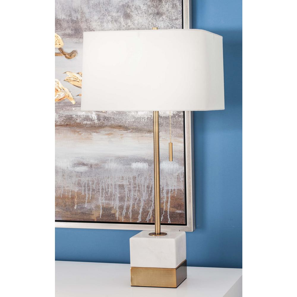 28 in. Modern White Marble Table Lamp with Matte Gold Accents