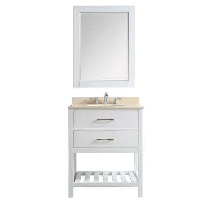 Foligno 30 in. W x 22 in. D x 36 in. H Vanity in White with Marble Vanity Top in Creama Marfil with Basin and Mirror