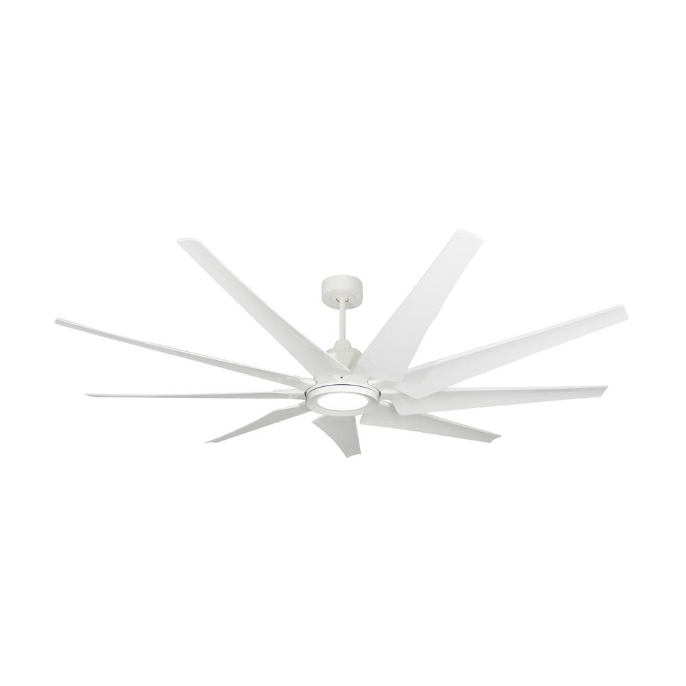 TroposAir Liberator 72 in. LED Indoor/Outdoor Pure White Ceiling Fan and Light with Remote Control