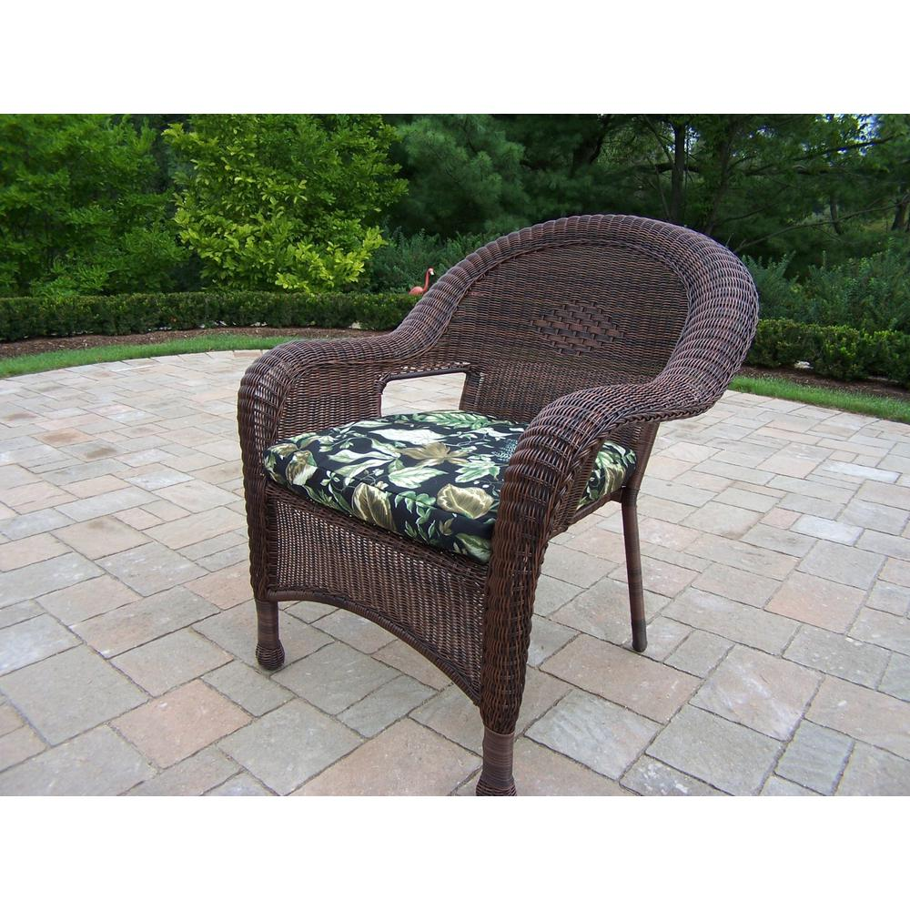 Coffee Wicker Outdoor Lounge Chair Black Floral Cushions