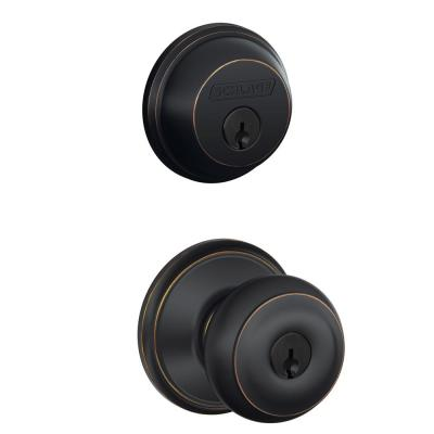 Aged Bronze Single Cylinder Deadbolt with Georgian Entry Door Knob Combo Pack