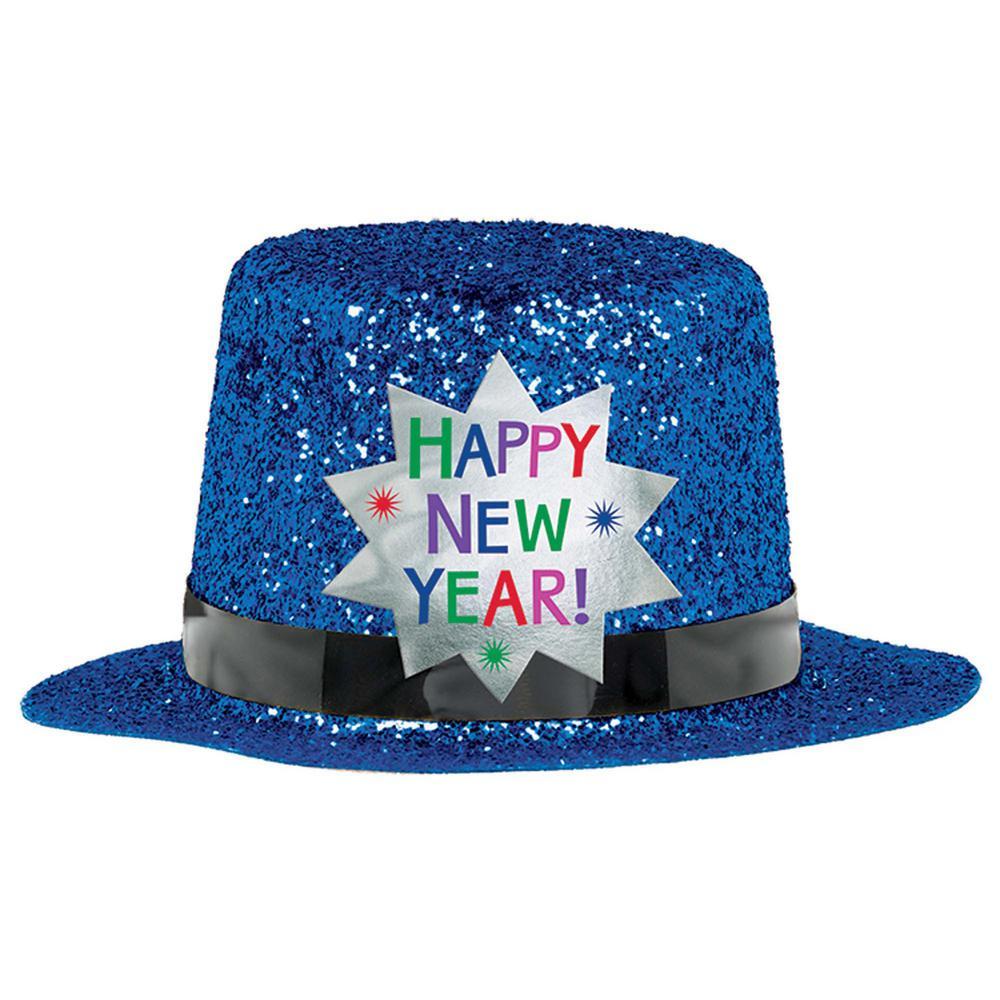 New Year's 2 in. Blue Glitter Mini Top Hat (6-Pack)