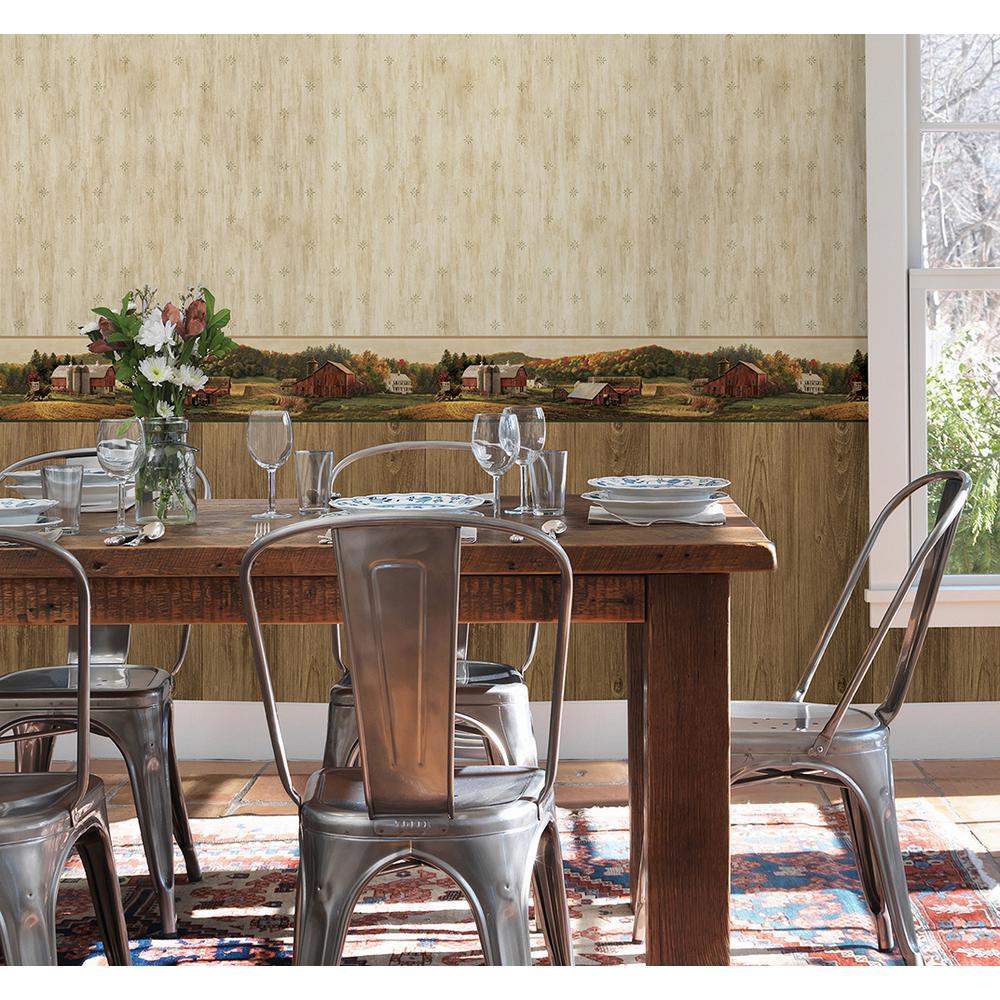 Chesapeake Cumberland Brown Faux Wood Texture Wallpaper