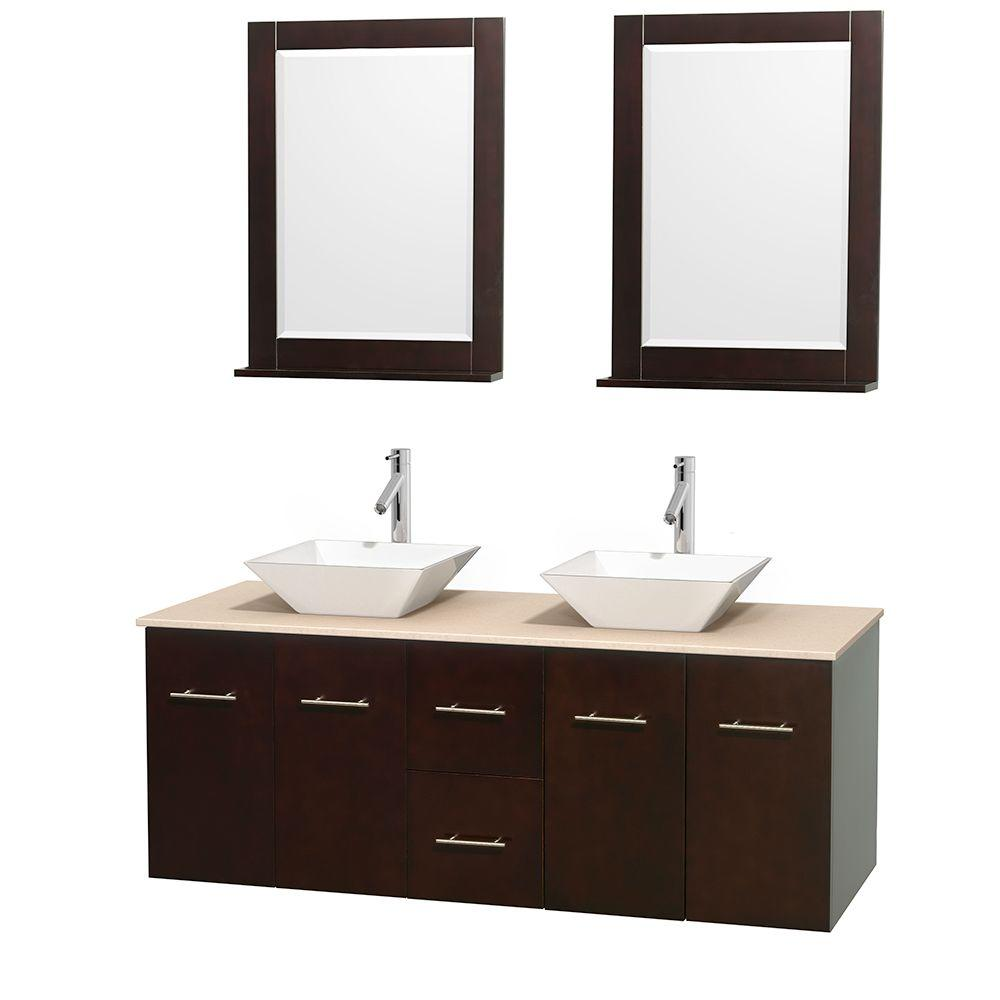 Wyndham Collection Centra 60 in. Double Vanity in Espresso with Marble Vanity Top in Ivory, Porcelain Sinks and 24 in. Mirrors