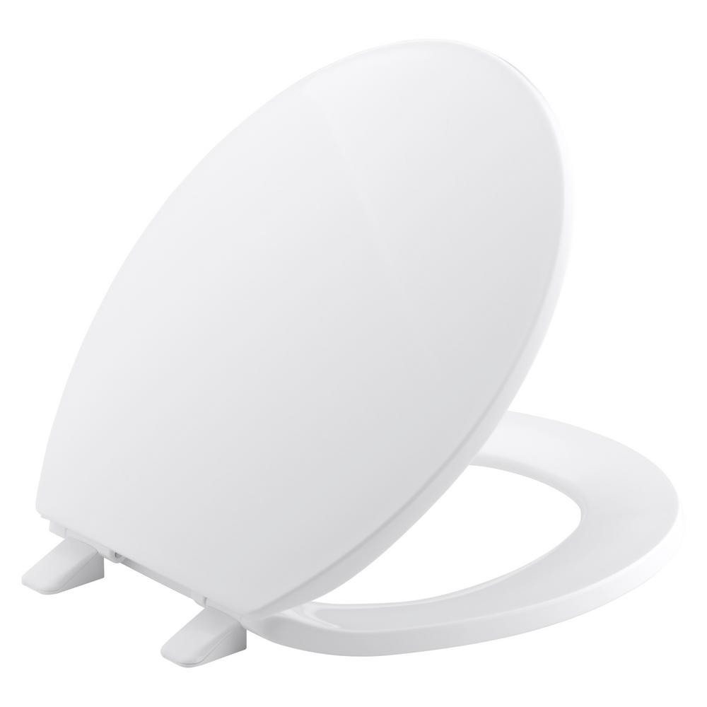 Brevia Round Closed Front Toilet Seat with Quick-Release Hinges in White