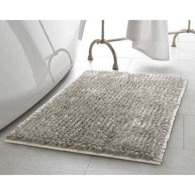 Mega Butter Chenille 27 in. x 45 in. Bath Mat in Light Grey