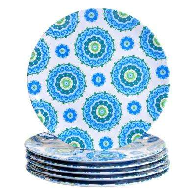 Boho 6-Piece Blue Dinner Plate Set